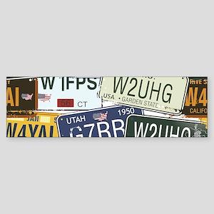 Vintage License Plates Bumper Sticker