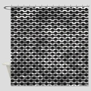 Distressed Retro Black Beads Shower Curtain