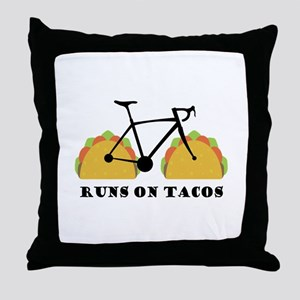 Runs On Tacos Throw Pillow