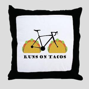 Runs On Tacos Throw Pillow