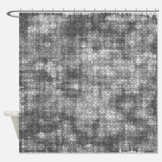 Distressed Grey Floral Pattern Shower Curtain