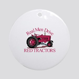 Drive Red Tractors Ornament (Round)