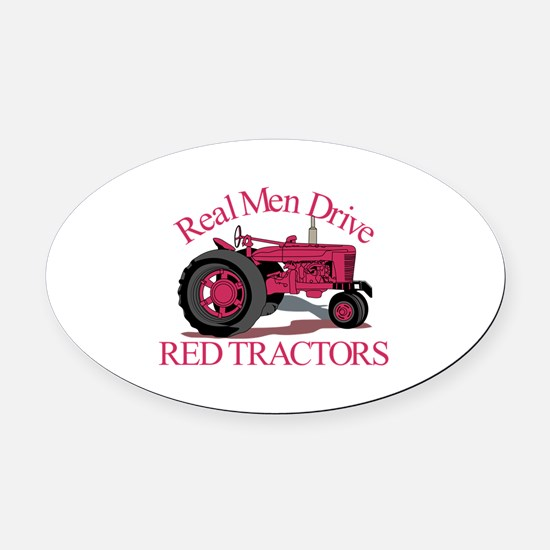 Drive Red Tractors Oval Car Magnet