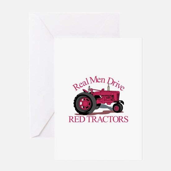 Drive Red Tractors Greeting Cards