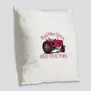 Drive Red Tractors Burlap Throw Pillow