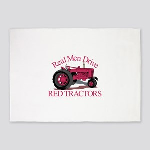 Drive Red Tractors 5'x7'Area Rug
