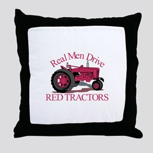 Drive Red Tractors Throw Pillow