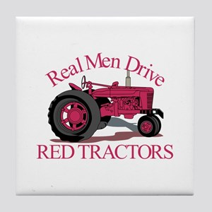 Drive Red Tractors Tile Coaster