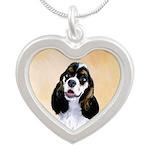 Cocker Spaniel (Parti-Colore Silver Heart Necklace