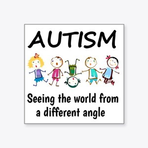 """Autism...seeing the world f Square Sticker 3"""" x 3"""""""