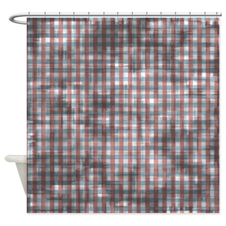 distressed red and blue crosshatch shower curtain by printpatterns. Black Bedroom Furniture Sets. Home Design Ideas