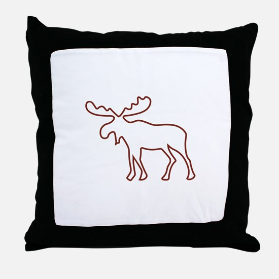 Moose Outline Throw Pillow