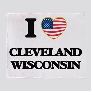 I love Cleveland Wisconsin Throw Blanket