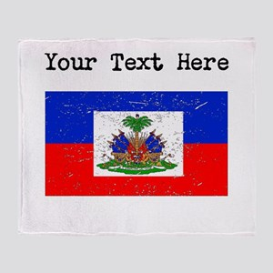 Haiti Flag (Distressed) Throw Blanket