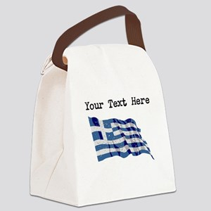 Greece Flag (Distressed) Canvas Lunch Bag