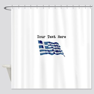 Greece Flag (Distressed) Shower Curtain