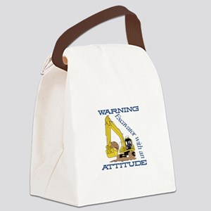 Warning Excavator With An Attitude Canvas Lunch Ba