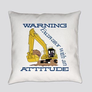 Warning Excavator With An Attitude Everyday Pillow