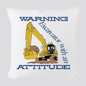 Warning Excavator With An Attitude Woven Throw Pil