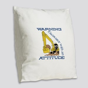 Warning Excavator With An Attitude Burlap Throw Pi