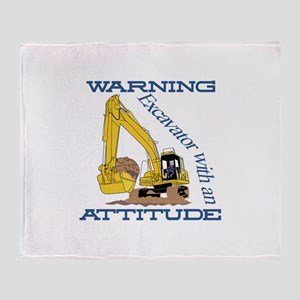 Warning Excavator With An Attitude Throw Blanket
