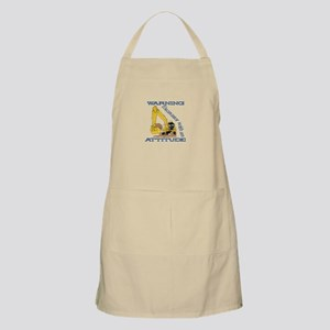 Warning Excavator With An Attitude Apron