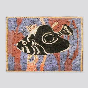 Black Sea Fish 5'x7'Area Rug