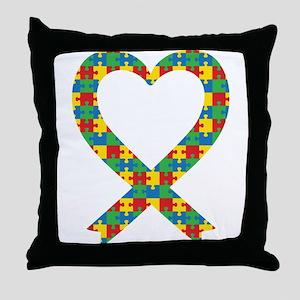 Autism Puzzle Piece Heart Throw Pillow