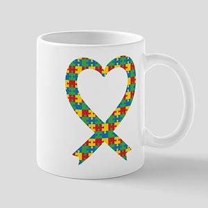 Autism Puzzle Piece Heart Mug Mugs
