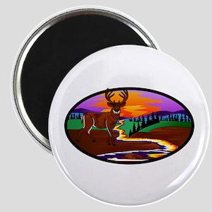 Deer Sunset Oval Scene Magnets