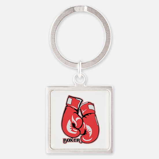 Boxing Gloves Square Keychain