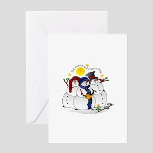 Snowmen Caroling Greeting Cards