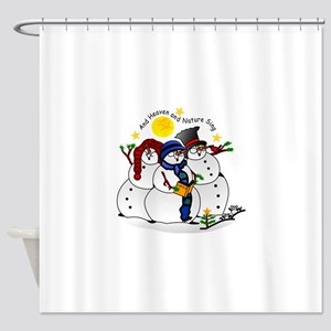 Snowmen Caroling Shower Curtain
