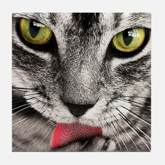 Cool Black cat face Tile Coaster