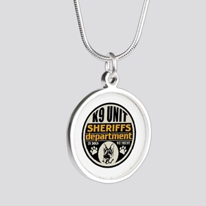 K9 In Dogs We Trust Sheriffs Silver Round Necklace