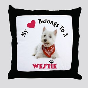 My Heart Belongs To A Westie Throw Pillow