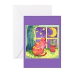 Cat and Moon Watercolor Greeting Cards (Pk of 20)