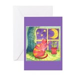 Cat and Moon Watercolor Greeting Card
