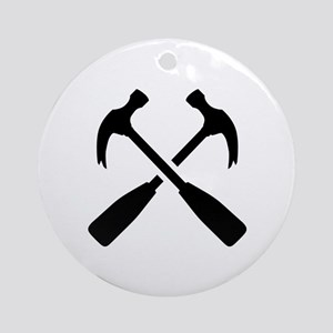 Crossed carpenter hammer Ornament (Round)
