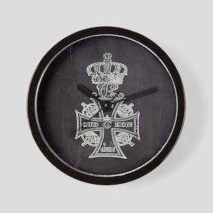 vintage cross royal crown Wall Clock