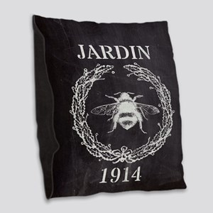 rustic french vintage bee  Burlap Throw Pillow