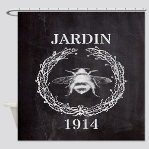 rustic french vintage bee  Shower Curtain