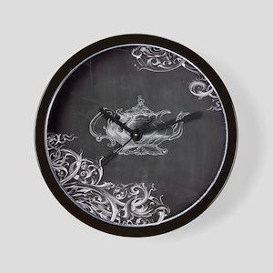 chalkboard tea pot swirls Wall Clock