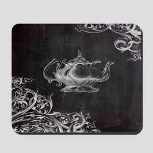 chalkboard tea pot swirls Mousepad