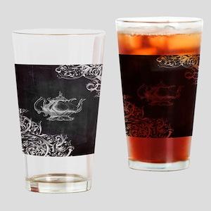 chalkboard tea pot swirls Drinking Glass