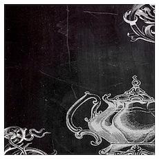 chalkboard tea pot swirls Poster