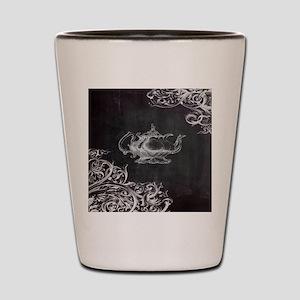 chalkboard tea pot swirls Shot Glass