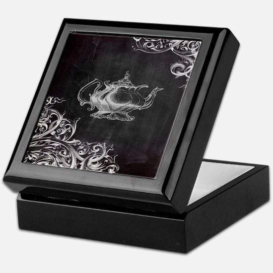 chalkboard tea pot swirls Keepsake Box