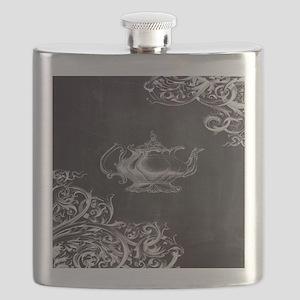 chalkboard tea pot swirls Flask