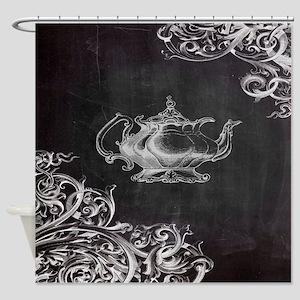 chalkboard tea pot swirls Shower Curtain